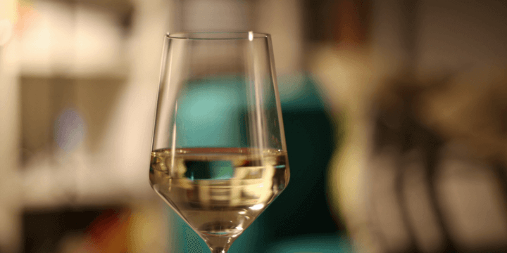 Wine glass holding clear sake inside.