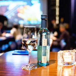 Mukantei's clear blue bottle adds some sparkle to the jazz scene at Blue Note Tokyo