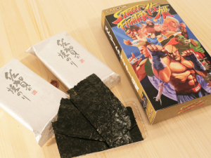 nori (dried seaweed) from Saga is also getting a Street Fighter makeover, packaged in a box resembling the iconic Street Fighter II cartridge