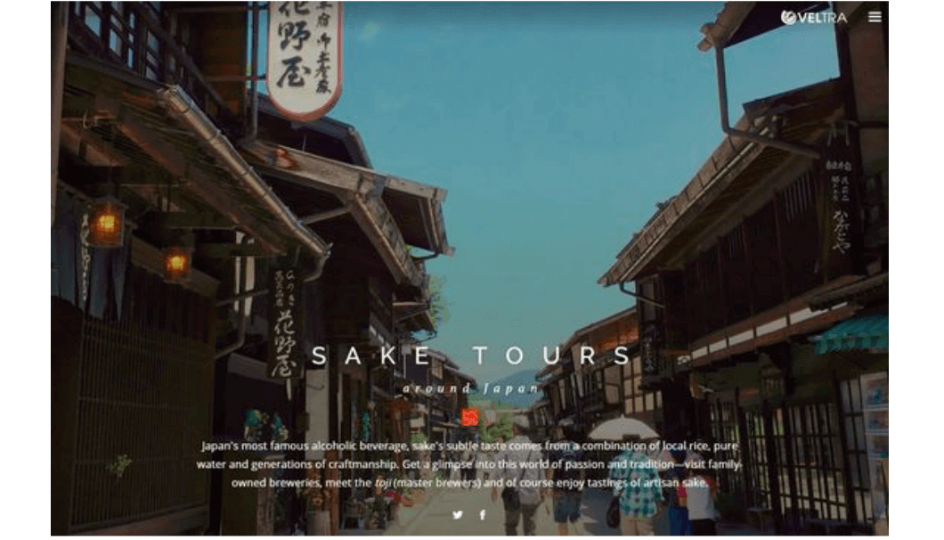 "site image of a special English language site called ""Sake Tours Around Japan"""