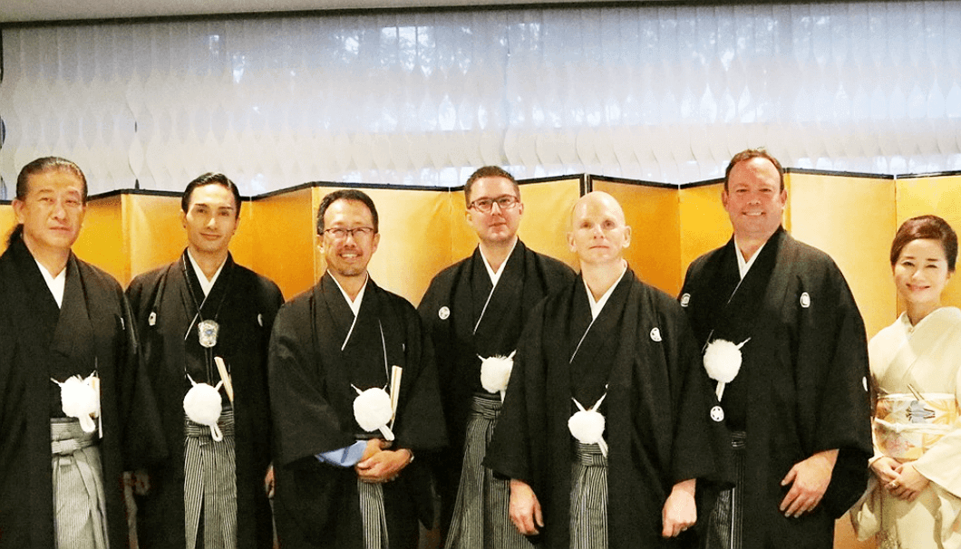Caption: newest sake samurai; (from left) Motoyoshi Kaburagi, Kenchi Tachibana, Kenichi Ohashi, Alexander Koblinger, Michael Tremblay, Patrick Ellis, and Rachel Chan.