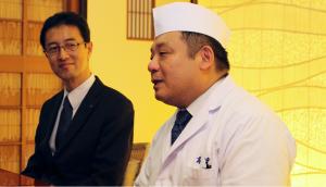 SAKETIMES, Gekkeikan, Restaurant owner and chef Keigo Tamura (right), with Mr. Matsumoto