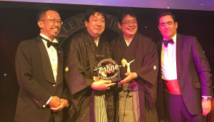 At the ceremony of IWC, Gekkeikan's Gold and Great Value Award-winning Tokusen