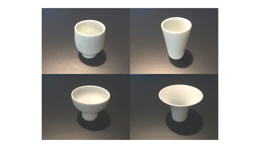 four different styles of sake cups
