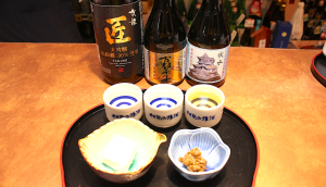 A tasting flight, complete with light snack pairing