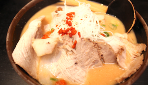 The karami sake kasu ramen adds a spicy kick