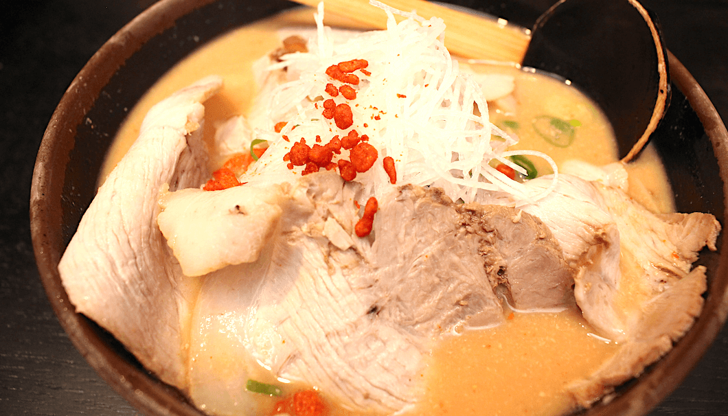 The karami sake kasu ramen adds a spicy kick