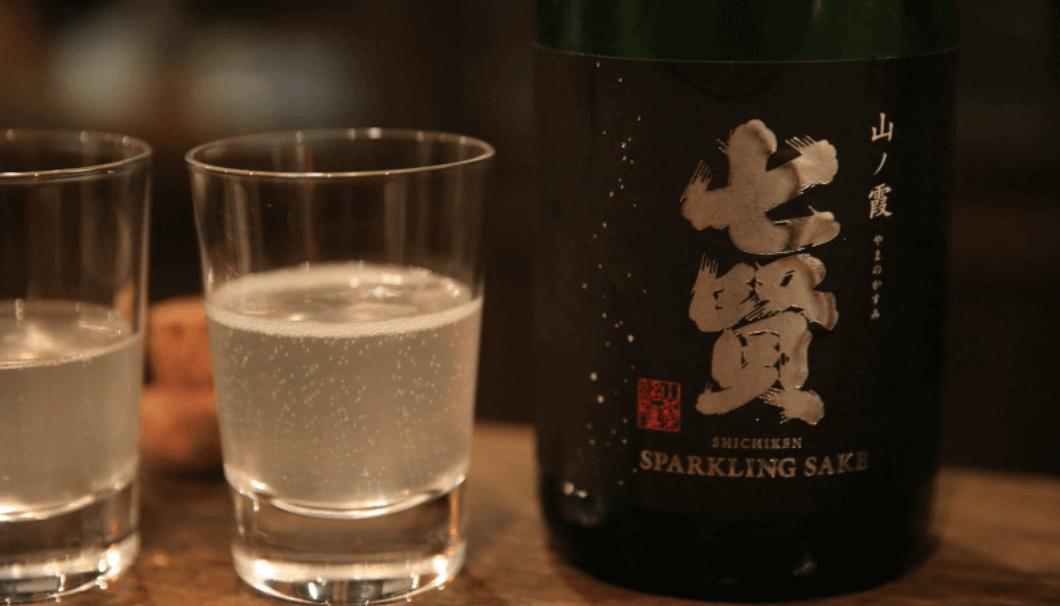 shichiken sparklingsake from Yamaanashi