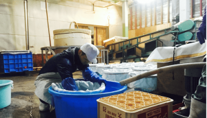 A brewer who is washing rice