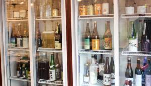 Sake bottols in the Ice-cold-showcase