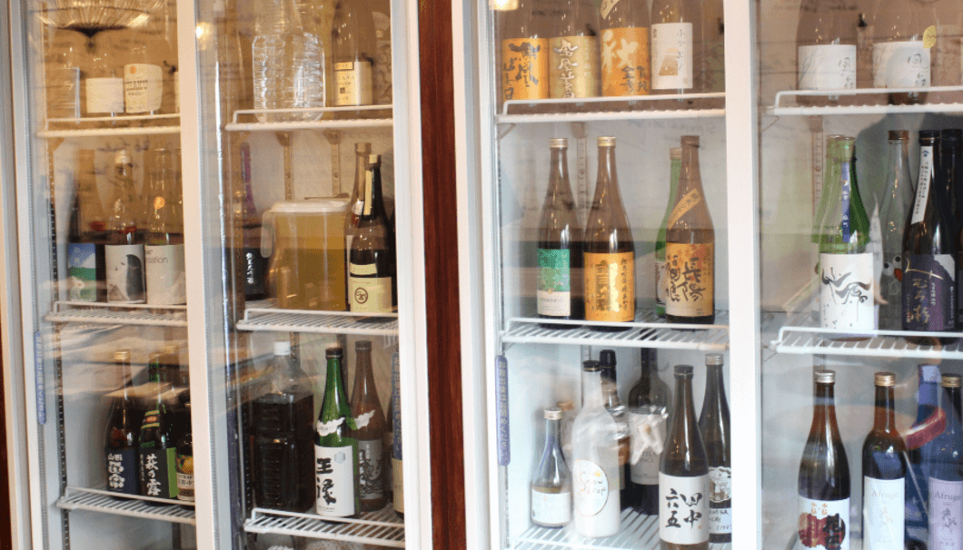 Sake bottols in the Ice-cold-showcase