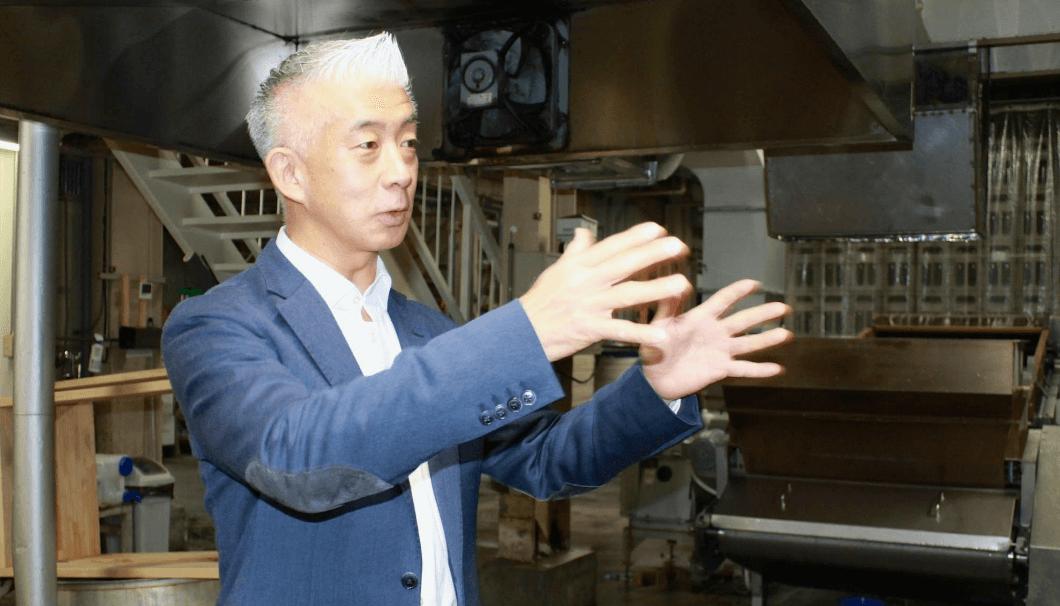 Masuda explains the finer points of sake production